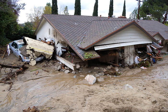 House destroyed by mudslide