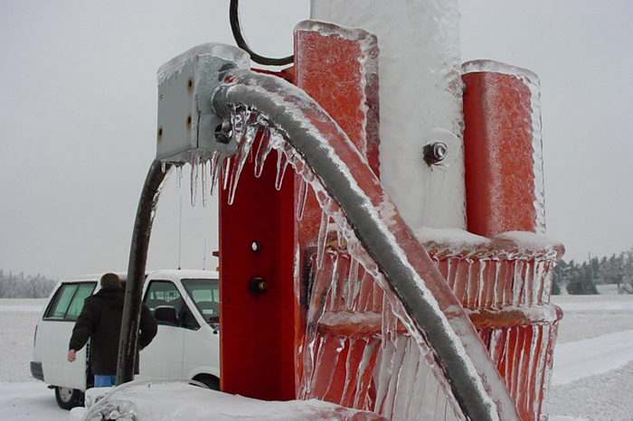 Ice accumulated on measuring equipment